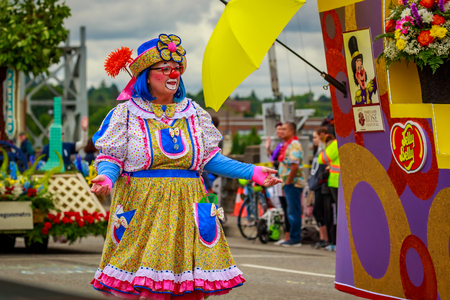 Portland, Oregon, USA - June 8, 2019: Rose Festival Circus Corps in the Grand Floral Parade, during Portland Rose Festival 2019.