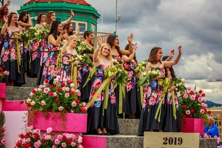 Portland, Oregon, USA - June 8, 2019: Rose Festival Court in the Grand Floral Parade, during Portland Rose Festival 2019.