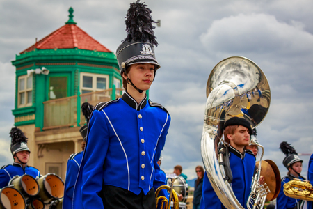 Portland, Oregon, USA - June 8, 2019: Hillsboro High School Marching Band in the Grand Floral Parade, during Portland Rose Festival 2019.