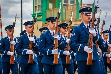 Portland, Oregon, USA - June 8, 2019: United States Air Force Honor Guard in the Grand Floral Parade, during Portland Rose Festival 2019.