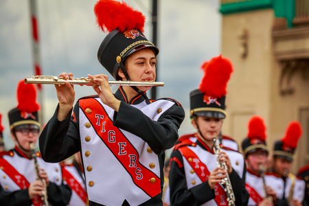 Portland, Oregon, USA - June 8, 2019: Battle Ground High School Marching Band in the Grand Floral Parade, during Portland Rose Festival 2019.