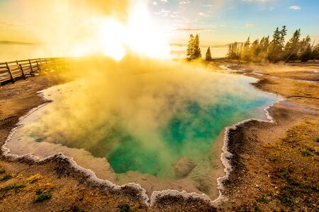 Black Pool in the morning, with steam blocking the rising sun, Yellowstone National Park