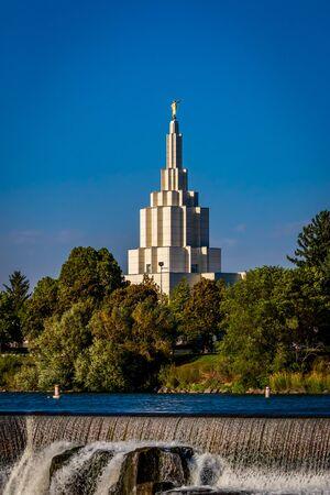 Mormon Temple in Idaho Falls, with Angel Moroni statue atop