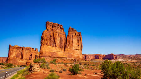 The Organ rock formation and Tower of Babel in Arches National Park, Utah
