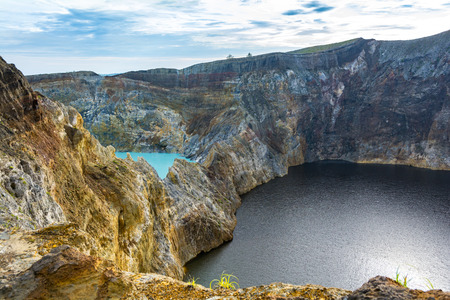 Two Different Color Crater Lake at Kelimuto Volcano, The Color are Unpredictable. Ende, Flores Island, Indonesia.