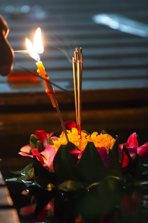 Beautiful   Kratong   and bright candle, Thailand Festival  photo
