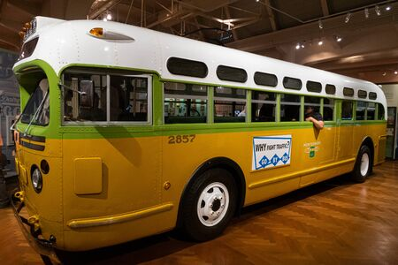 DETROIT,USA - AUGUST 6,2018: Henry Ford Museum. The bus on which Rosa Parks refused to give up her seat sparking the Montgomery Bus Boycott, a U.S. civil rights landmark Editorial