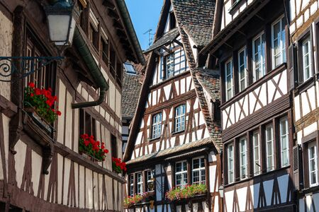 Strasbourg, France - Petite France, unesco world heritage site. The typical timbered houses of Alsace