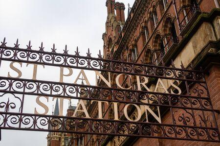 St Pancras International Railway Station Sign in London, England