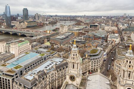 London,UK - January 2, 2020: Aerial view of London from St Pauls Cathedral on a cloudy day