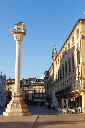 Vicenza, Italy - February 8, 2020: View of the Piazza dei Signori and the column with the winged lion in Vicenza, Italy.