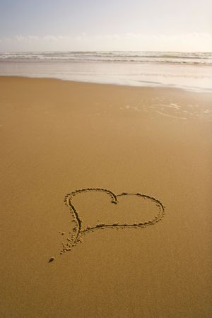 lovely heart in a tropical island made by a love couple