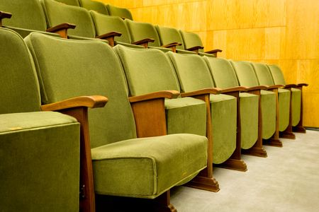 empty theatre seats ready for a music concert or movie