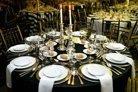 Modern restaurant design table for sophisticate dinner Stock Photo
