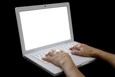 hands typing a letter in the keyboard of Stylish laptop computer with Isolated white screen.  Stock Photo - 4994038
