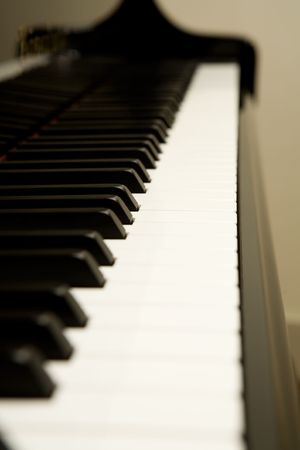 acoustically: Close view of the piano keys Stock Photo