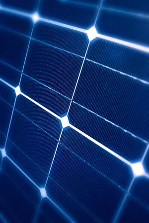 Modern Photovoltaic cells in a solar panel in a perspective view photo