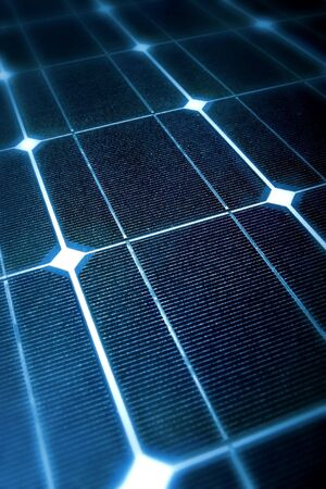 photoelectric: Photovoltaic cells in a solar panel in a perspective view