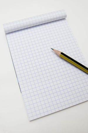 Blank math notebook ready for writing, and graphics photo