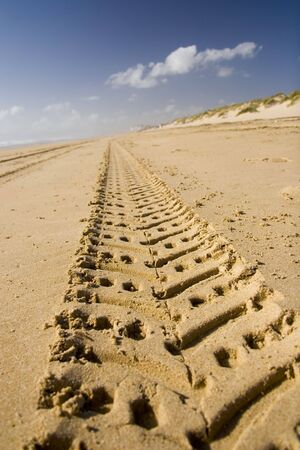 road path track in sand photo