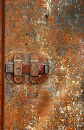 prison guard: Very old iron door with rusty details Stock Photo
