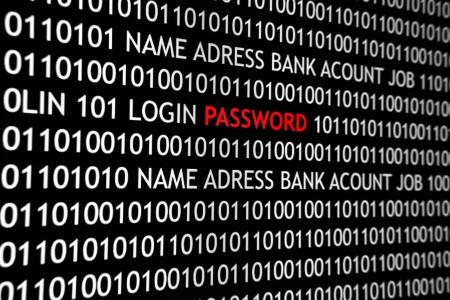 Çevrimiçi bilgisayar ekranı, ikili kod ve şifre metin ile bilgisayar, teknoloji ve online güvenlik için büyük bir kavram vurdu.