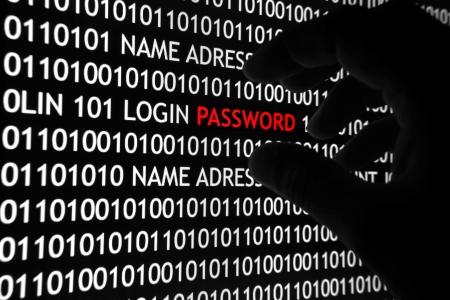lösenord: Dator säkerhetskoncept skott, med binär kod och lösenord text, bra för teknik, online-säkerhet och digitala livsstilsteman.