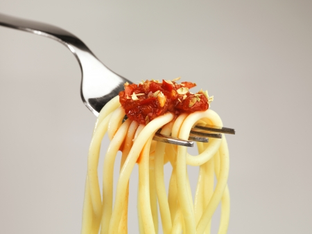 Spaghetti on a fork close up shoot, great for food themes. Macro photo with super detail ready for high quality or big prints  photo