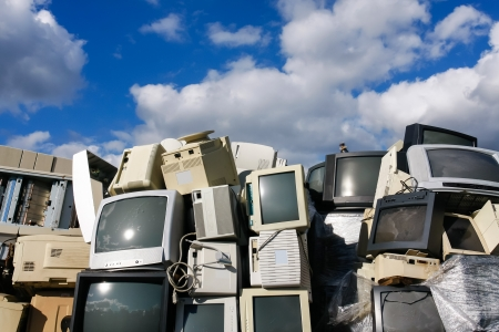 scrapyard: Modern electronic waste for recycling or safe disposal, any logos and brand names have been removed. Great for recycle and environmental themes.