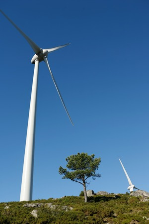 fossil fuels: Wind Turbines on a modern windmill farm for alternative energy production. Electricity is powered ecological and considered better for the environment over oil and other fossil fuels. A renewable resource for energy. Stock Photo