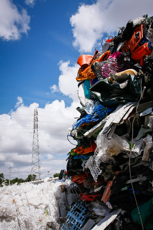 environmental damage: Pile of waste for recycling or safe disposal, Great for recycle and environmental themes. Stock Photo