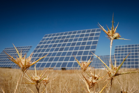 voltaic: Modern sun energy farm solar panels, for eco and nature renewable production. Stock Photo