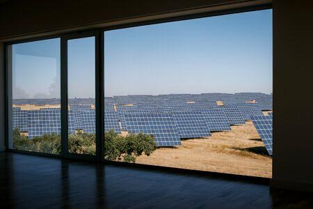 sun energy: Modern sun energy farm solar panels, for eco and nature renewable prodution.