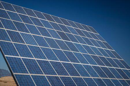 photocell: Modern sun energy farm solar panels, for eco and nature renewable prodution.