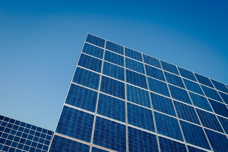 solar cells: Modern sun energy farm solar panels, for eco and nature renewable production. Stock Photo
