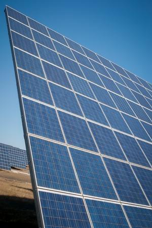 futurist: Modern sun energy farm solar panels, for eco and nature renewable prodution.
