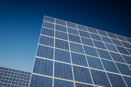 solarcell: Modern sun energy farm solar panels, for eco and nature renewable production. Stock Photo