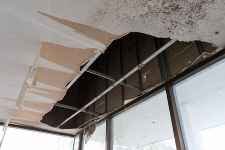 The wooden ceiling was broken. photo