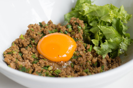mincemeat: Mincemeat noodle with yolk on top