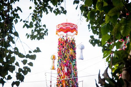 stupa one: LAMPHUN THAILAND- SEPTEMBER 26 : Slakpat Lanna tradition at Wat Phra That Hariphunchai on September 26, 2015 in Lamphun, Thailand.