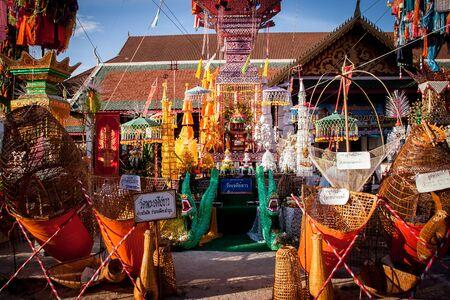 impartial: LAMPHUN THAILAND- SEPTEMBER 26 : Slakpat Lanna tradition at Wat Phra That Hariphunchai on September 26, 2015 in Lamphun, Thailand.