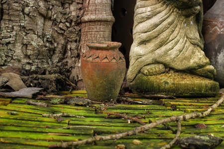 craftmanship: thai pottery and sculpture made by thai craftmanship in nature Stock Photo