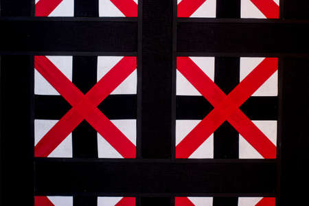 rood kruis: red cross, modern style decoration made of cloth on wall in lobby room