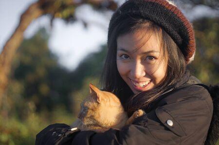 naughty girl: naughty girl catch naughty cat