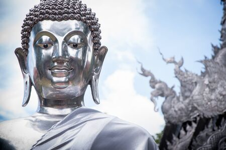 buddha statue: silver buddha statue in shisupan temple, chiangmai, thailand Stock Photo