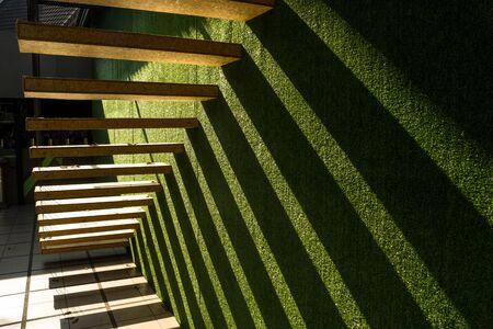 elegant staircase: modern wooden stair on green background
