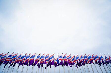 thai flag: thai flag on sky scene Stock Photo