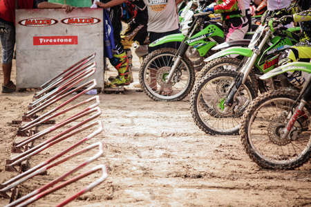 motorcross: CHIANGMAI THAILAND - FEBRUARY 21: Unidentified riders in  CMRU cycle cross 2016 on Feb 21, 2016 in Sanpatong district, Chiang Mai, Thailand. Editorial
