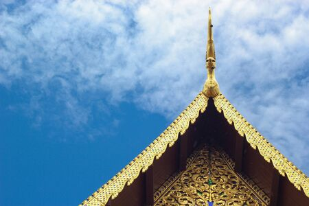 golden gable apex and striped thailand on chapels jediluang temple