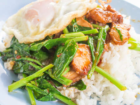 Fry kale with oyster sauce and fried egg on rice photo